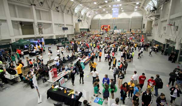 an aerial photo of a student event at ASI Cal Poly Recreation Center Main Gym