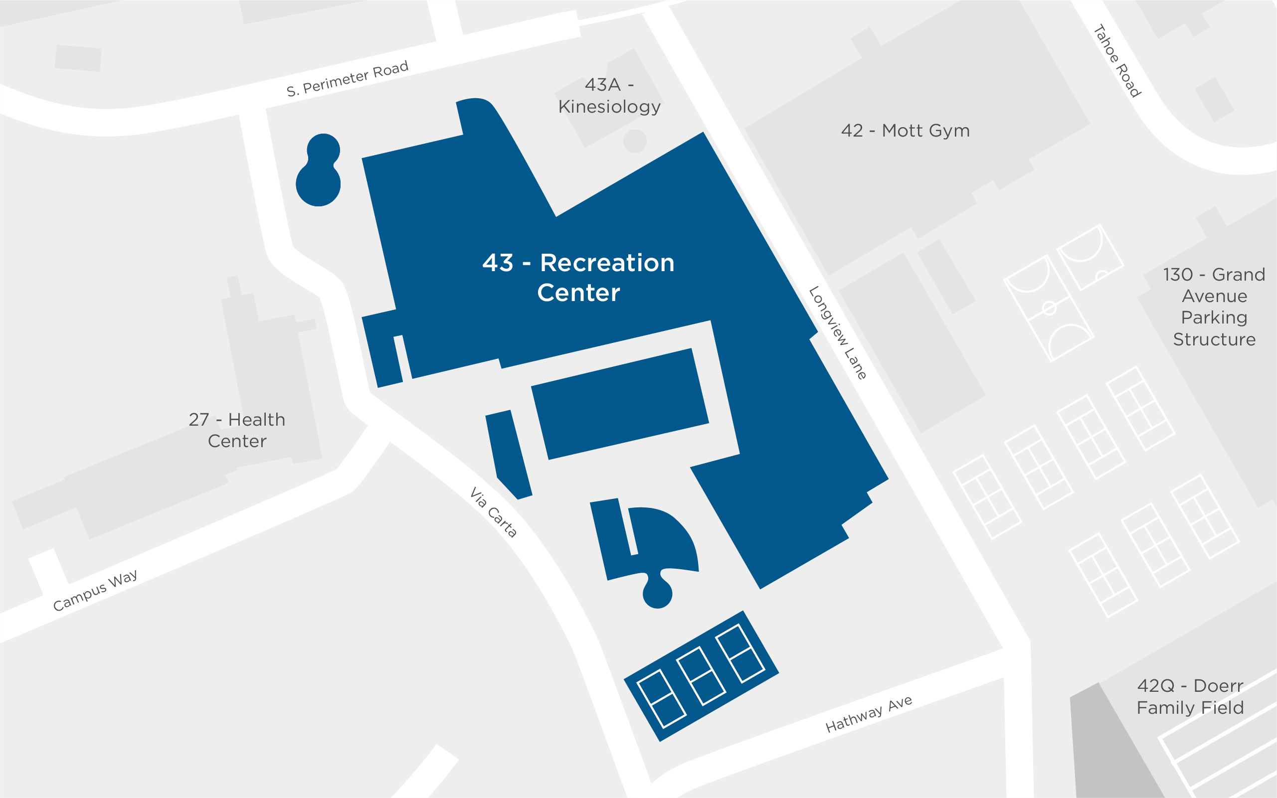 Map of the Recreation Center on Cal Poly's Campus