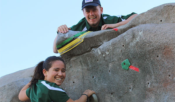 asi cal poly recreation center staff on the climbing wall