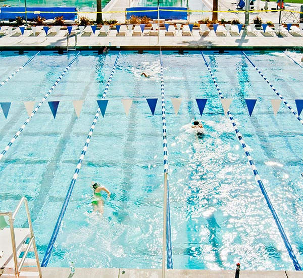Lap Pool at the Recreation Center with swimmers in the lanes