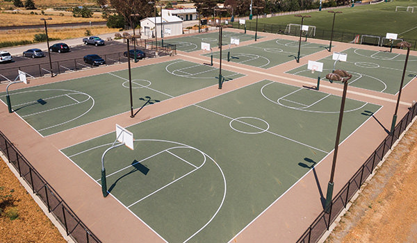 aerial shot of the cal poly sports complex basketball courts