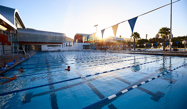 lap pool at sunset at the asi recreation center