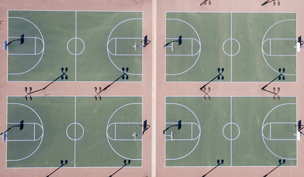 ASI Cal Poly Sports Complex basketball courts from the top down