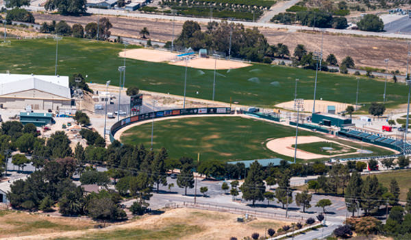 ASI Cal Poly Sports Complex baseball fields from afar