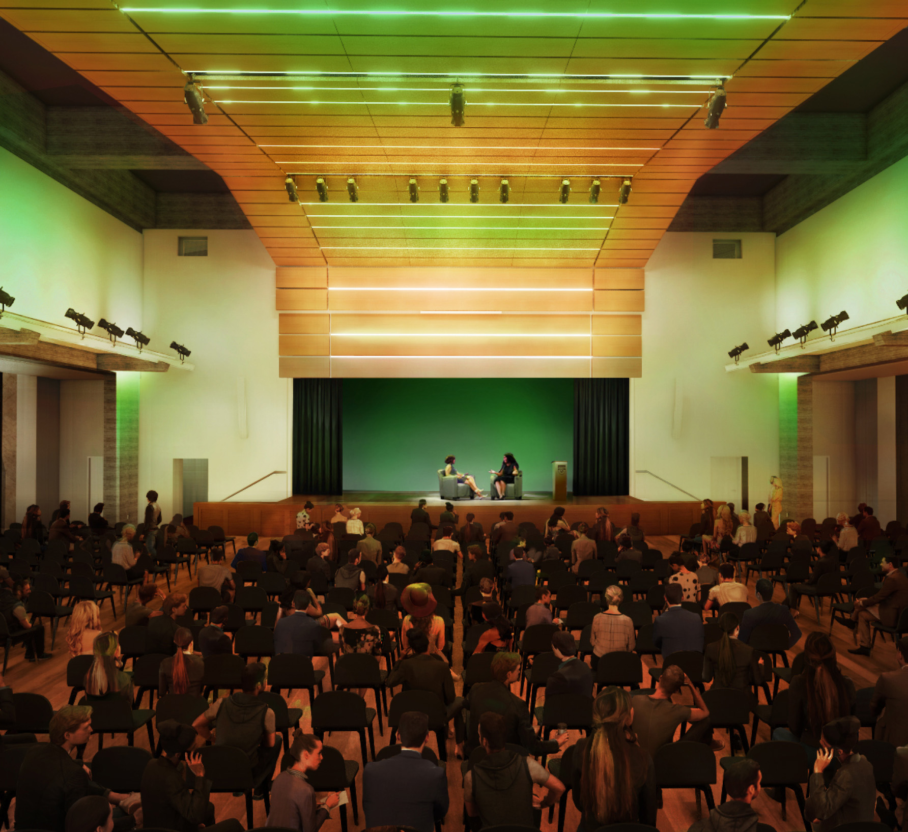 Rendering of Chumash Auditorium featuring green lights and a crowded auditorium