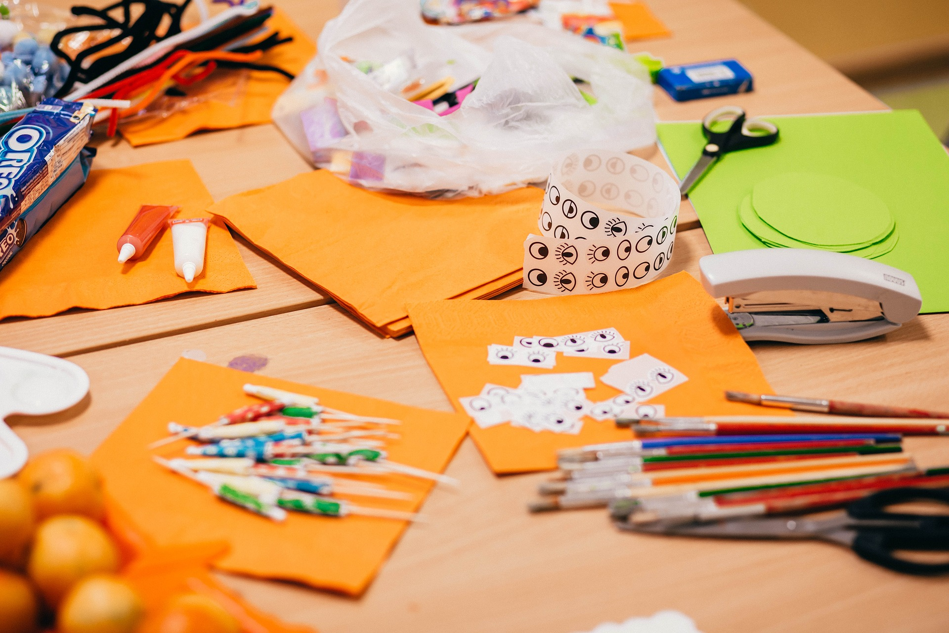 Crafting supplies on a table
