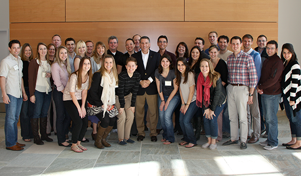 ASI Student Government Alumni group posing with Cal Poly President Jeffrey Armstrong