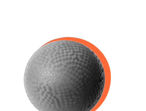 cutout of a kickball with orange background